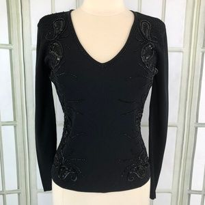 Michelle Nicole Ribbed Knit Top Sequin Trim  Black
